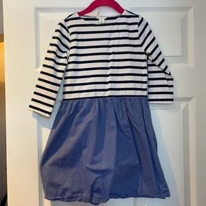 Crew cuts striped and chambray dress. Size 7